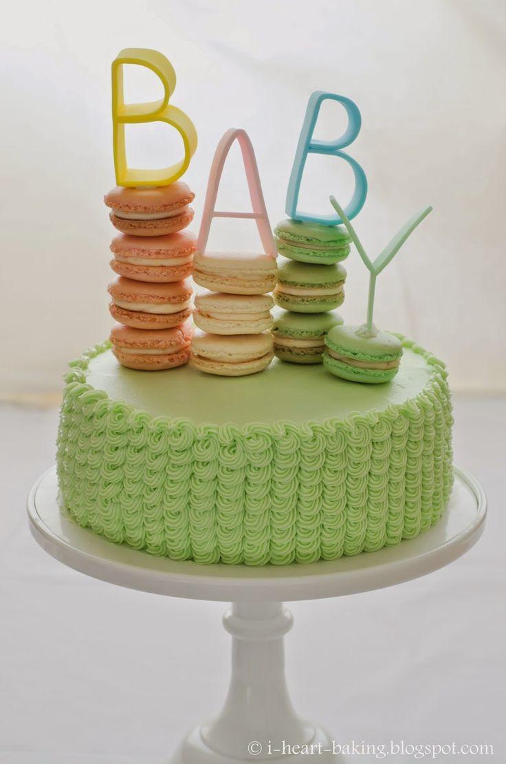 i melocotones ducha corazón hornear !: bebé y pastel de capas de crema con macarons y artesanales acolchados carta fondant