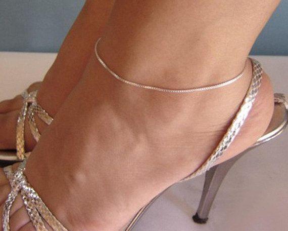 bracelet cheville argent massif