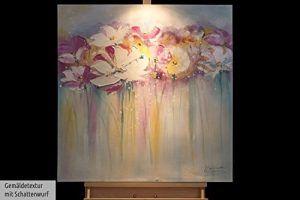 KunstLoft ακρυλικά έργα ζωγραφικής-με άρωμα τριαντάφυλλο-Καλοκαίρι-80x80cm-πρωτότυπο χέρι ζωγραφισμένα φωτογραφίες καμβά XXL Πολύχρωμο λουλούδι ροζ Καλοκαίρι στο φορείο Τοιχογραφία Ακρυλικό Ζωγραφική Σύγχρονη Τέχνη σε ένα κομμάτι-καρέ 0-5 - praxisdesign.works