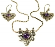 Stirling Silver Necklace and Earring Set -with Amethyst semi precious stones  $72.95