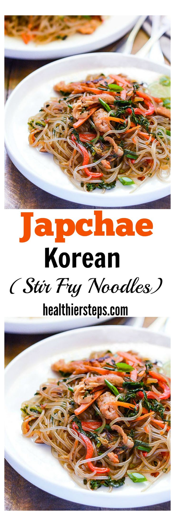 This Japchae (Korean Stir Fried Noodles) is so easy to prepare and tastes amazing! Sweet potato noodles stir fried with onions, garlic, bell pepper, carrot and greens tossed with an easy to prepare sauce.