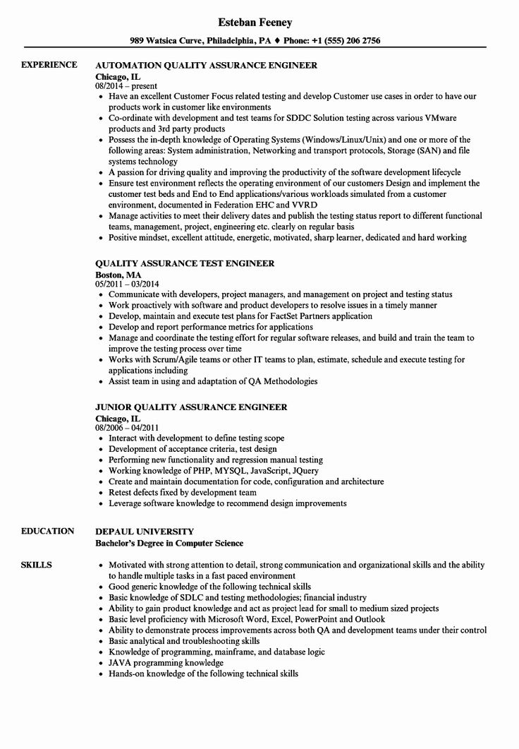 Quality assurance Resume Examples Lovely Quality assurance