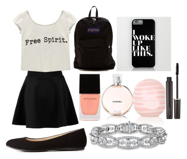 Back to school outfit for middle school #2 by shamya2003 on Polyvore featuring polyvore, fashion, style, Wet Seal, Charlotte Russe, JanSport, Laura Mercier, Chanel, Topshop and Witchery