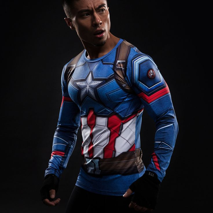 Captain America Compression Longlseeve //Price: $25.00 & FREE Shipping //     #avengers #justiceleague #superman #spiderman