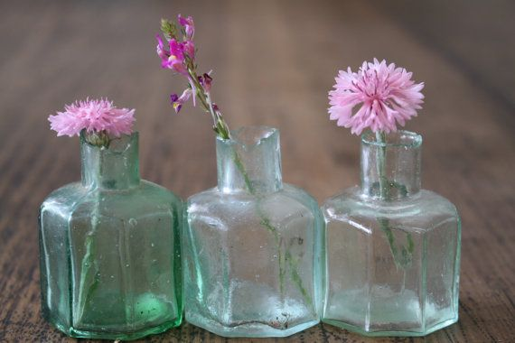 Antique Trio of Ink Bottles Green Hues  Instant by FoundByHer