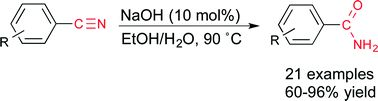 Selective NaOH-catalysed hydration of aromatic nitriles to amides