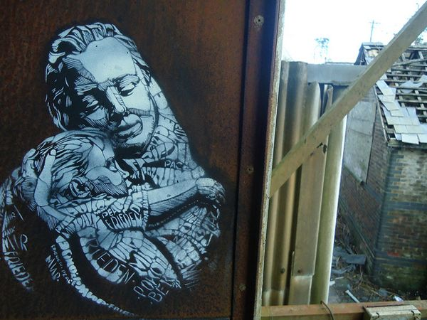 C215 stencil/spray street art in the UK