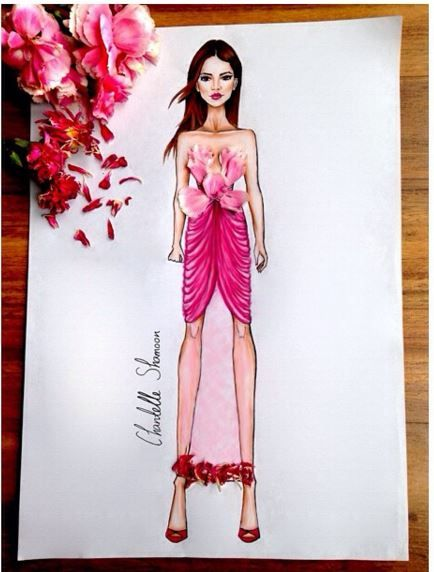 à fleurs collection • 1  #fashion #hautecouture #couture #illustration #design #designer #art #digitalart #pencilart #flowers #dress #longdress #pink #chantelleshamoon