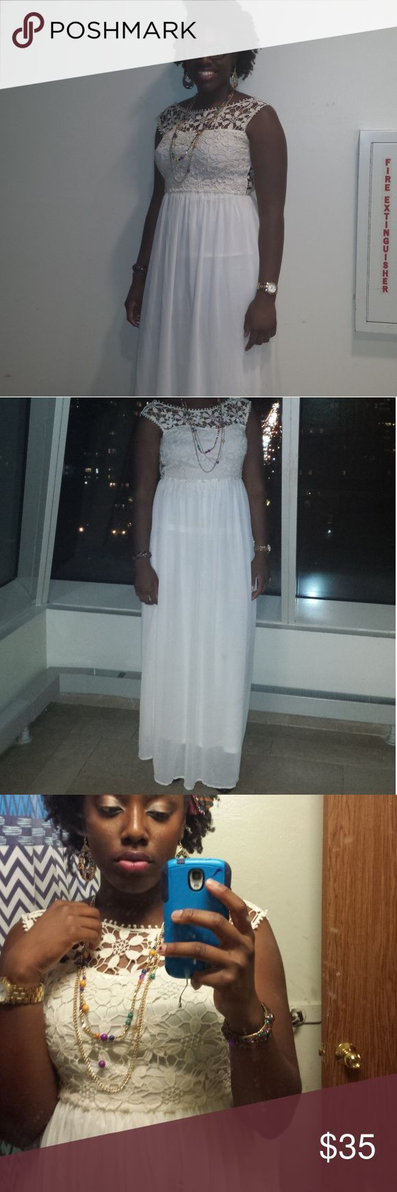 Club L Cream Maxi Dress US Size 10 UK Size 14 Maxi length cream dress from Club L with floral lace detailing. With heels I was 6' tall and the dress went down to my feet. Definitely a dress fit for any occasion Club L Dresses Maxi
