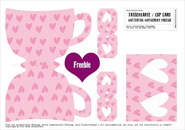 FREE printable tea cup tea bag wrapIi Freebies, Cups Teas, Herztassen Freebies, Printables Cards, Printables Teas, Teacups Cards, Free Printables, Cards Templates, Freebies Diy