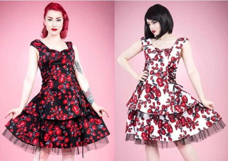 H & R London Red Rose Dress Pinup Vintage Rockabilly Style (Black or White)