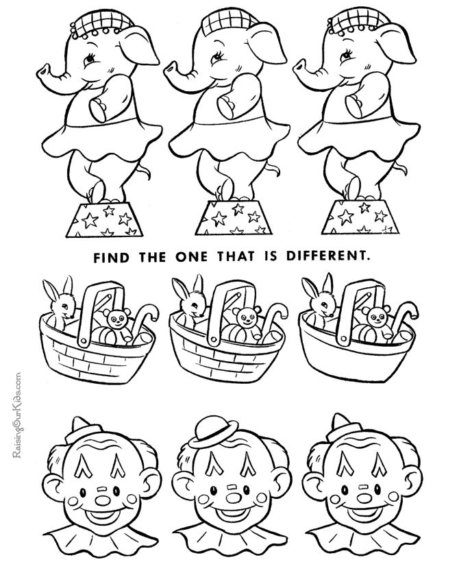 Printable hidden picture - which is different - circus