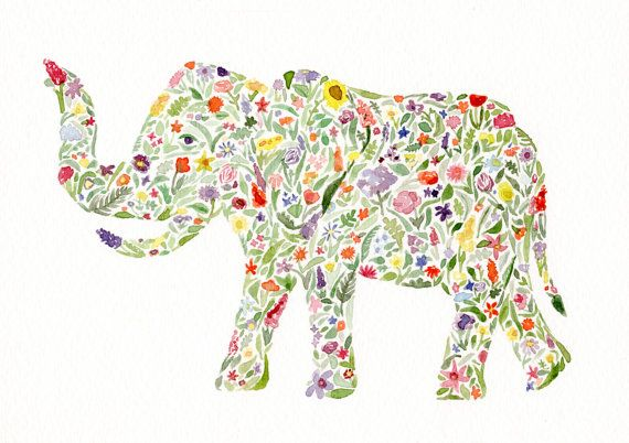 Floral Elephant Print of Original Watercolor by BeWildandFree @Emily Thomas!