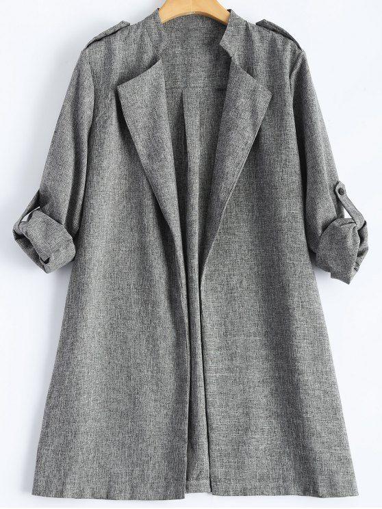 Plus Size Trench Coat - GRAY XL