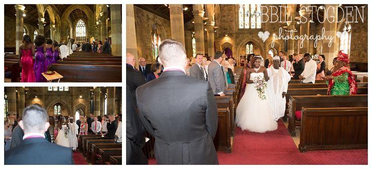 Bride walks down the aisle at St Margaret's Church, Brotton