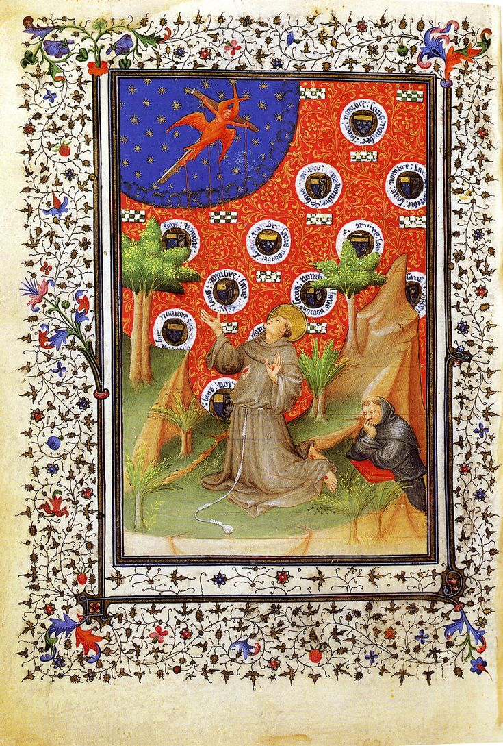 "ca. 1405-1408 - 'Saint Francis"". A page from the ""Boucicaut Hours"". Illuminations by Boucicaut Master (anonymous French or Flemish miniaturist and illuminator active between 1400 and 1430 in Paris. He worked in the International Gothic style)"