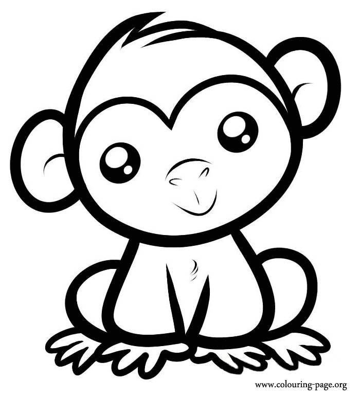 Cute Monkey Coloring Page Printable
