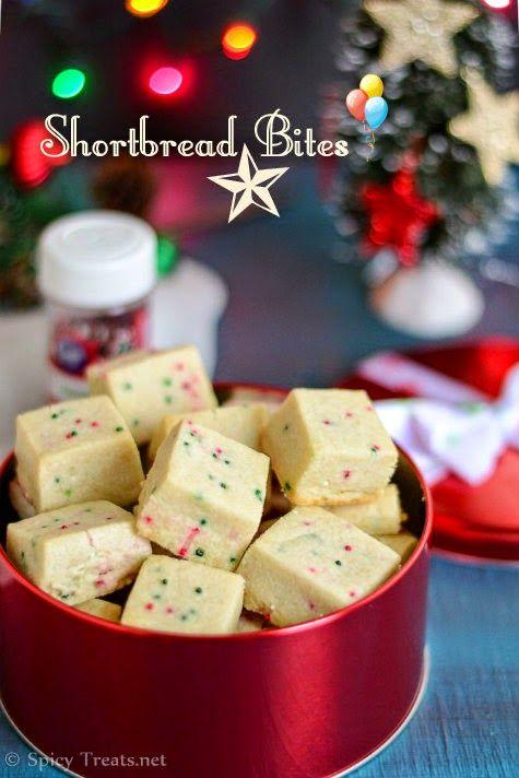 Spicy Treats: Shortbread Bites | Eggless Christmas Cookies | Easy Christmas Cookies Recipe