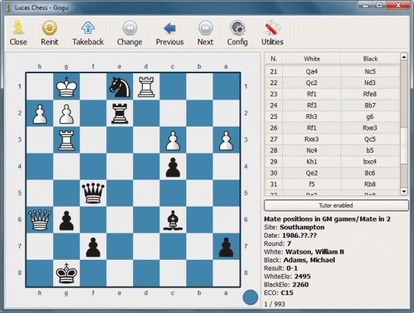 lucaschess2 es un juego de ajedrez con un entrenador de ajedrez incorporado diseñado para ayudarle a vencer oponentes cada vez más difíciles con un número limitado de pistas.: