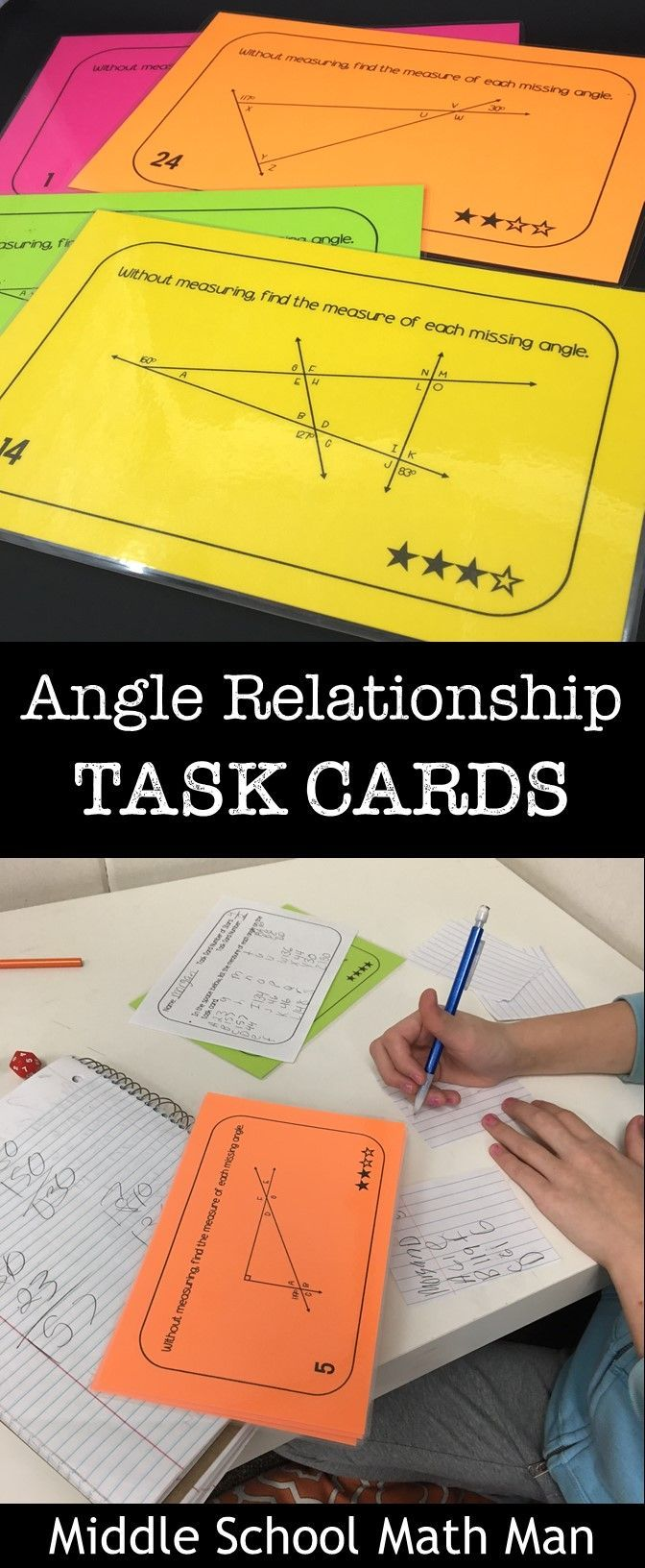 This set of middle school math angle relationship task cards includes over 75 different cards. Students use their knowledge of supplementary angles, vertical angles, and angles in triangles and other polygons to find missing angles. The resource includes problems at four different difficulty levels to help differentiate!
