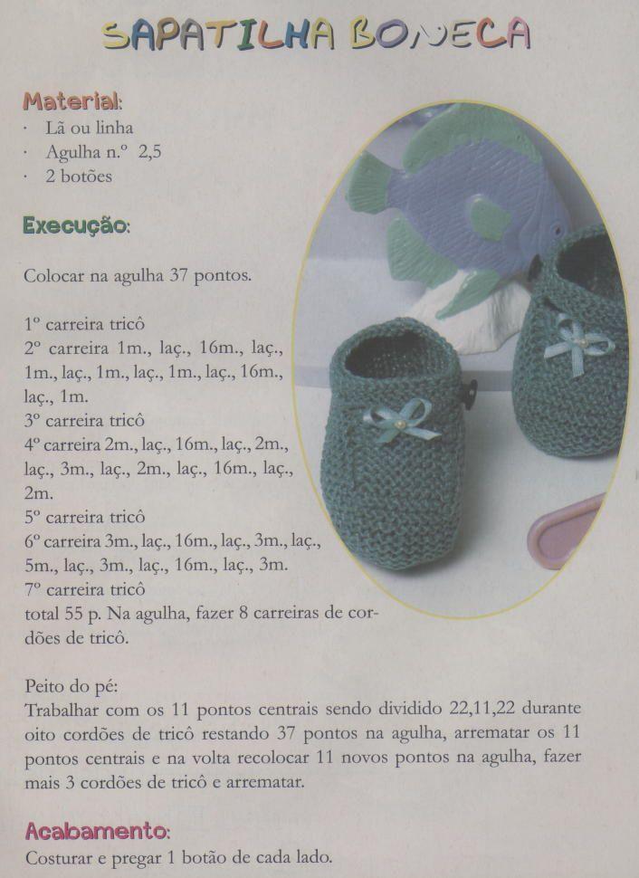 Receitas de tricô: Sapatos e sapatinhos