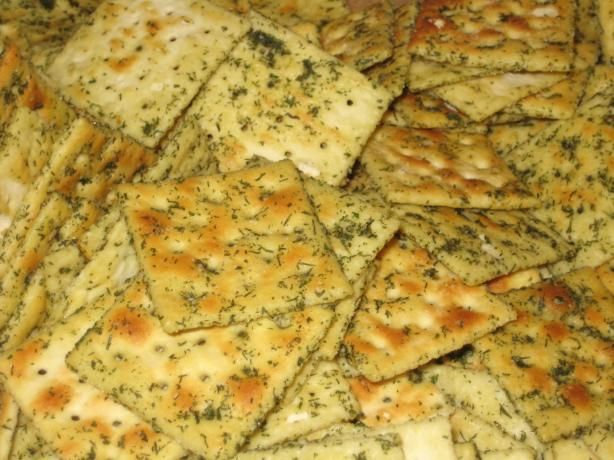 Spicy Saltines. I use olive oil instead of canola, and no dill, but basically follow this recipe. So good.