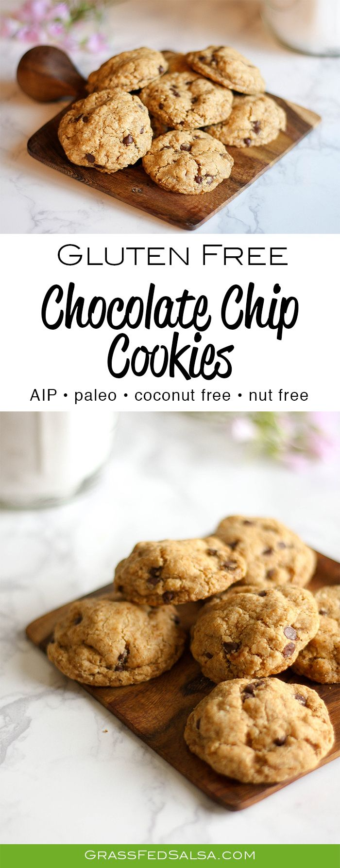 This Paleo friendly recipe makes the best gluten free Chocolate Chip Cookies. You'll never guess they're allergen free: no nuts, dairy, eggs, grains, ...