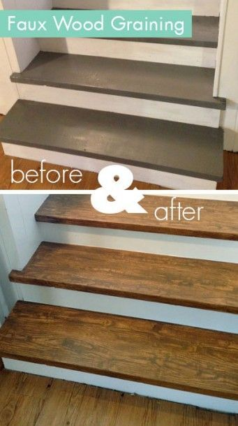 Faux wood graining fake your way to oak stair treads with for Painted stair treads