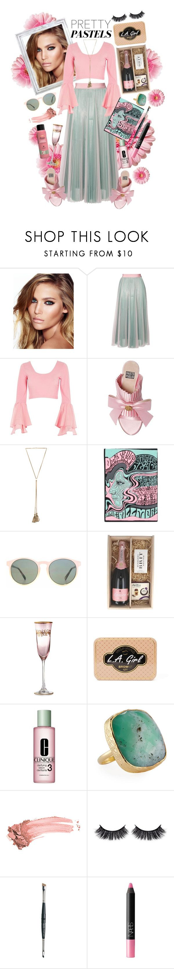 """""""Strawberry Ice Cream with Mint"""" by nessacarissa ❤ liked on Polyvore featuring Charlotte Tilbury, MSGM, River Island, FAUSTO PUGLISI, Chloé, Olympia Le-Tan, HOOK LDN, L.A. Girl, Clinique and NAKAMOL"""