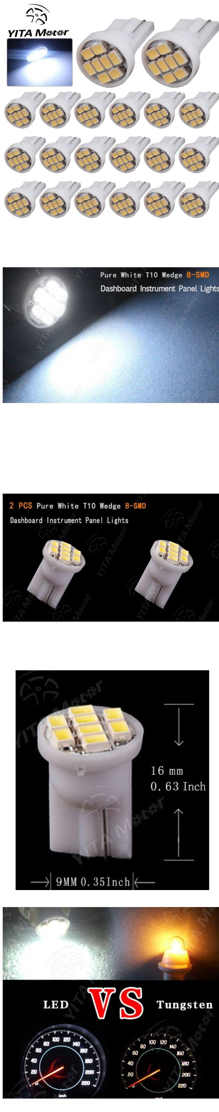 Yitamotor car light 20x t10 wedge 8 smd pure white white led lightscar
