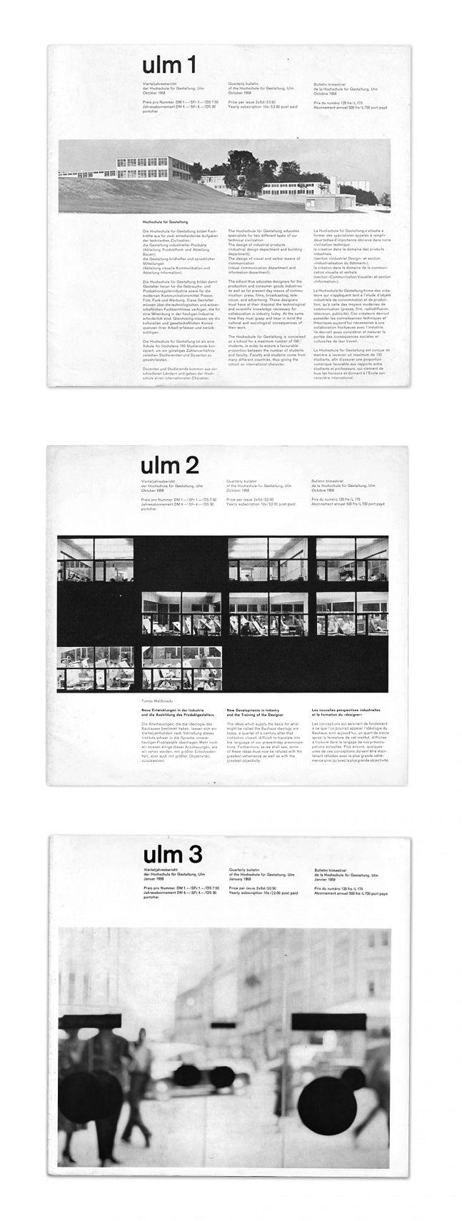 BOLETÍN HfG. Ulm, 1958. Designer, Anthony Froshaug (1920-1984). Editor, Dr. Hanno Kesting (1925-1975).