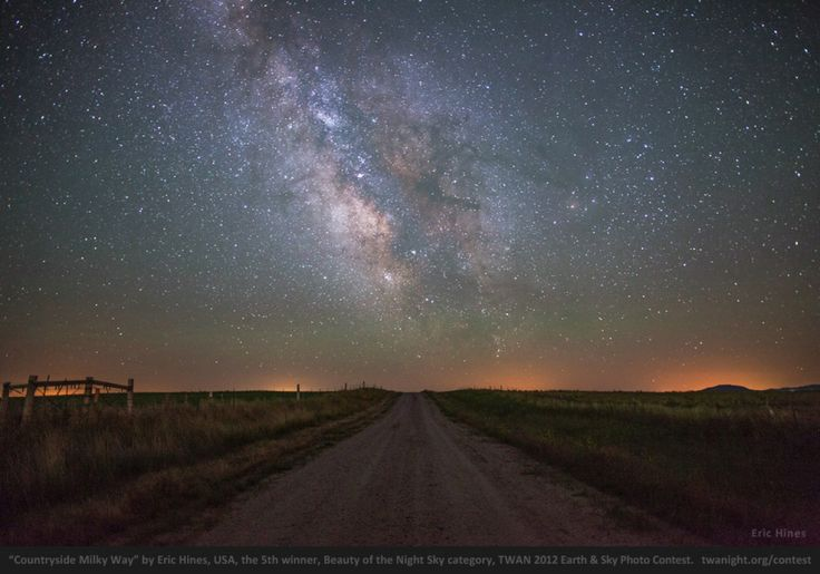 """'Countryside Milky Way,"""" by Eric Hines, USA   Fifth place, """"Beauty of the Night Sky"""" category  First prize in the """"Against the Lights"""" category."""