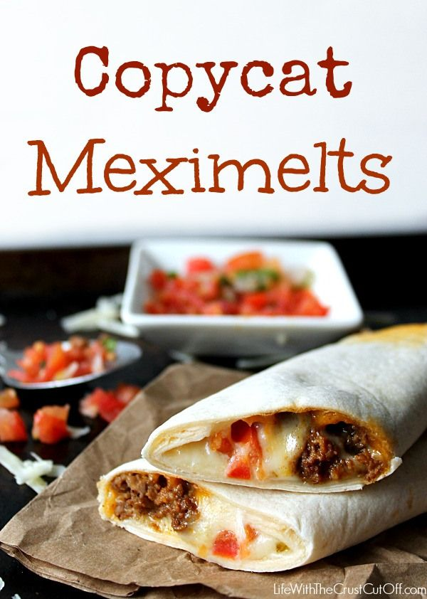 Copycat Meximelts. Make vegan with TVP/taco seasoning/soy cheese.