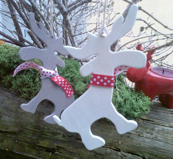 Handpainted Wooden Reindeer Christmas Ornaments with Polkadot Scarf