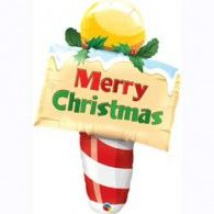 Merry Christmas Post Foil Balloon $22.95 (Inflated) Q26970