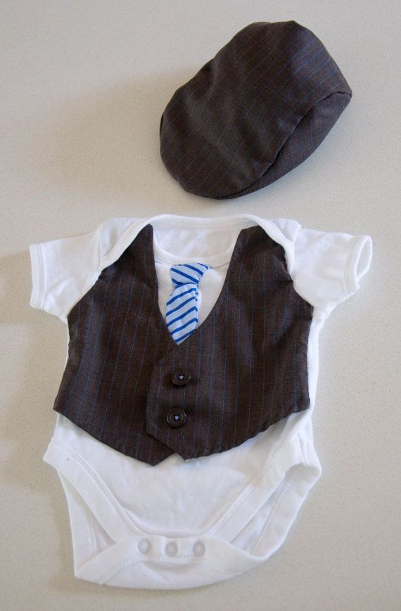 Baby formal wear vest and tie onesie flat cap by AmyMaiBubs, $30.00