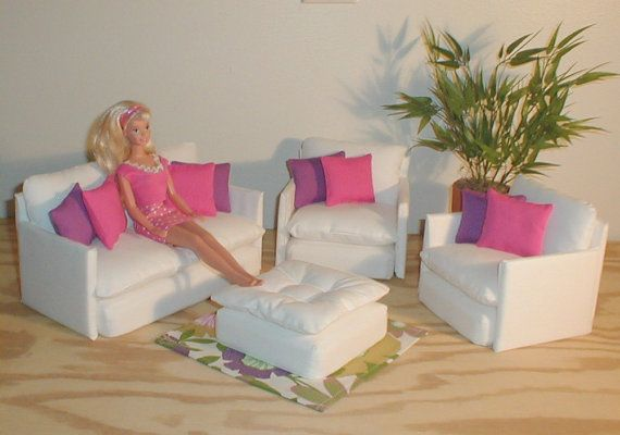 Barbie doll furniture living room set white wpink purple pillows rug