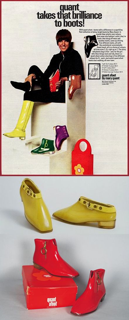 quant afoot by mary quant, 1960s rain boots yellow red color photo print ad model magazine vintage fashion mod style