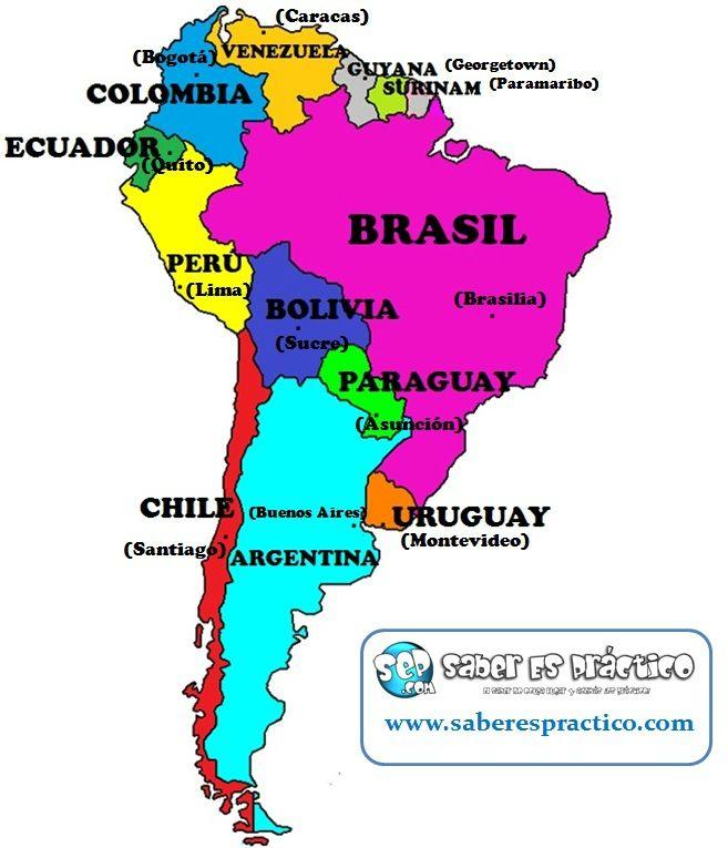 Mapa político de América del Sur (países y capitales)
