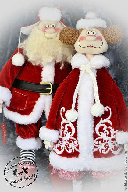 Сказочные персонажи ручной работы. Ярмарка Мастеров - ручная работа. Купить Новогоднее семейство. Handmade. Ярко-красный, смешная игрушка