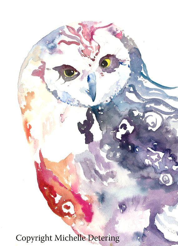 16X20 Watercolour Owl. Whimsical Owl, Watercolour Art, Watercolor Owl. #Owlwatercolor #owlart