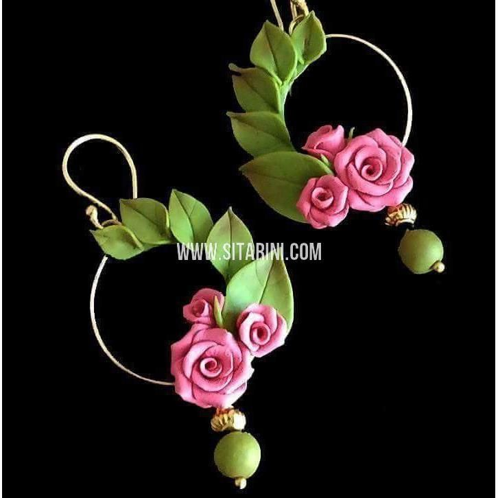 Polymer Clay Earrings Rose Flower Design Sitarini Sahpce115