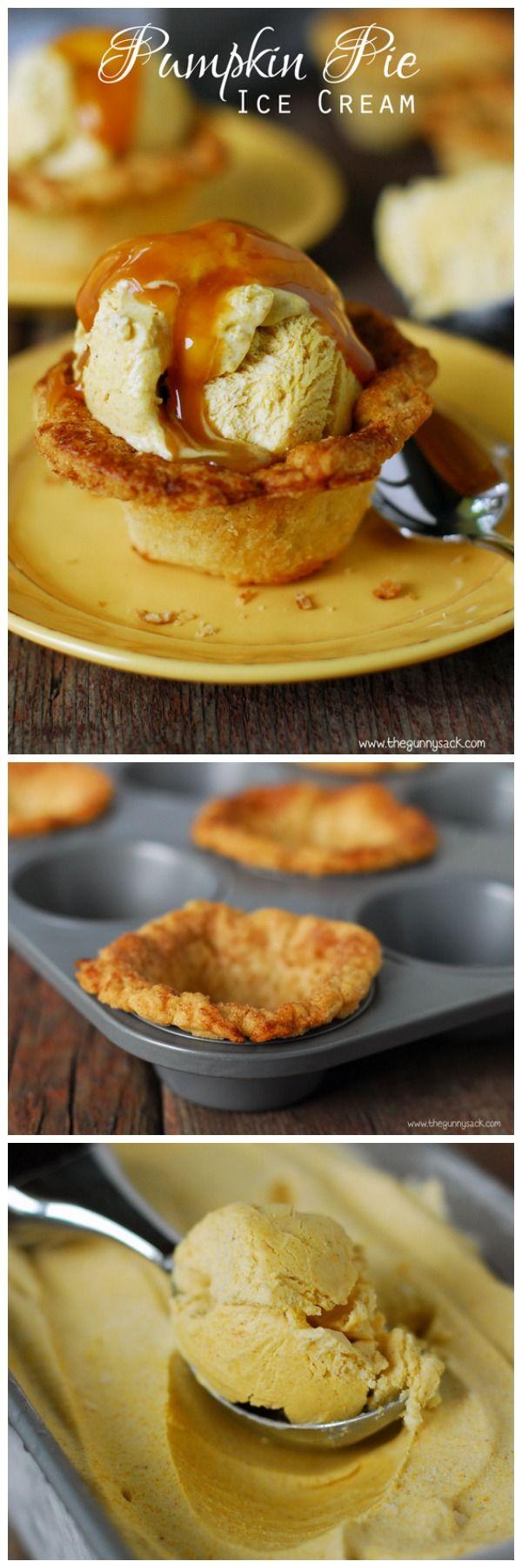 This homemade, no churn pumpkin pie ice cream is best when served in pie crust cups!