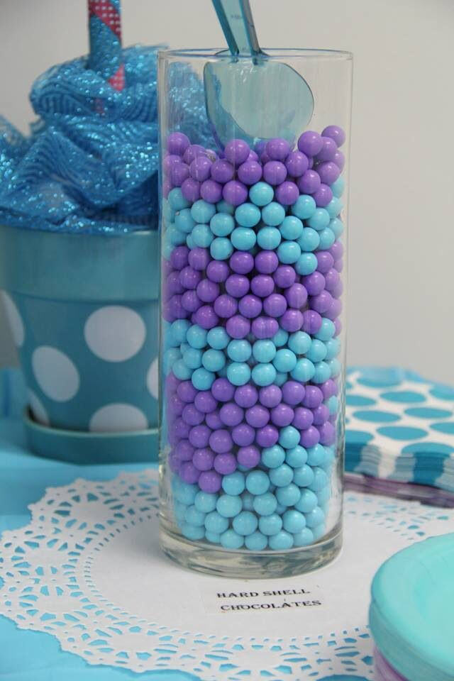 Purple And Turquoise Candy Jars Bridal Shower