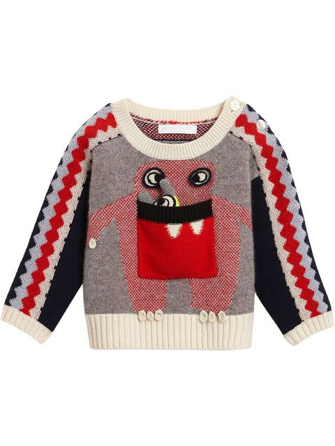 45ed741707b4 Shop Burberry Kids Monster Intarsia Cashmere Sweater for  302. Fast Global  Delivery