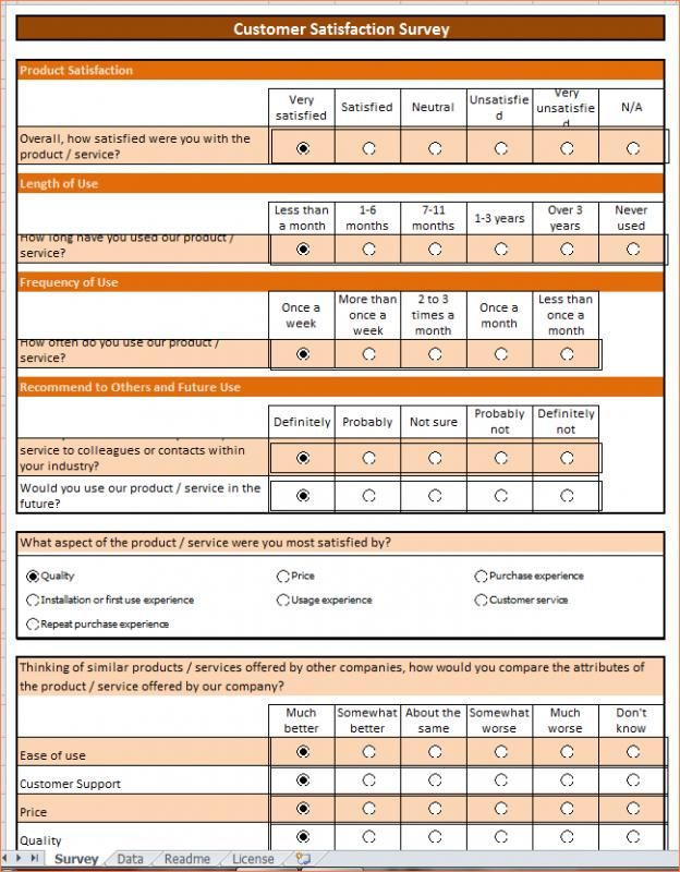 Employee Satisfaction Survey Template Sample Questionnaire Excel