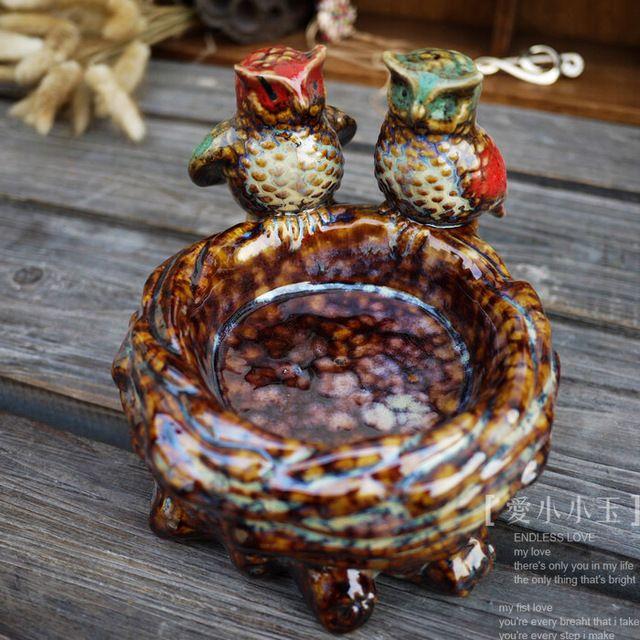Artesanato de cerâmica, Mobiliário de Casa moderna, Sala de estar, Ornamentos de animais, coruja Engraçado Cinzeiro Decoração Da Casa
