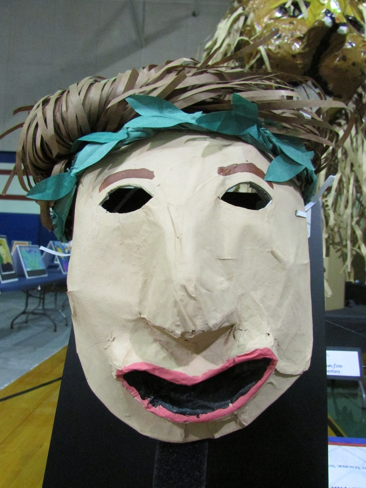 3rd grade paper mache Greek drama mask; lesson by art teacher: Susan Joe