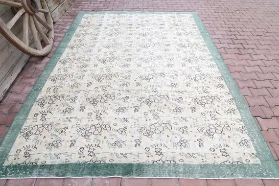 7x10 Turkish Rug Area Rug Beige Faded Green Oushak Rug Etsy Vintage Rugs Rugs Area Rugs