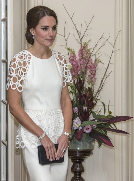 Catherine, Duchess of Cambridge is seen as she attends a reception hosted by the Governor General Peter Cosgrove and Her excellency Lady Cosgrove at Government House